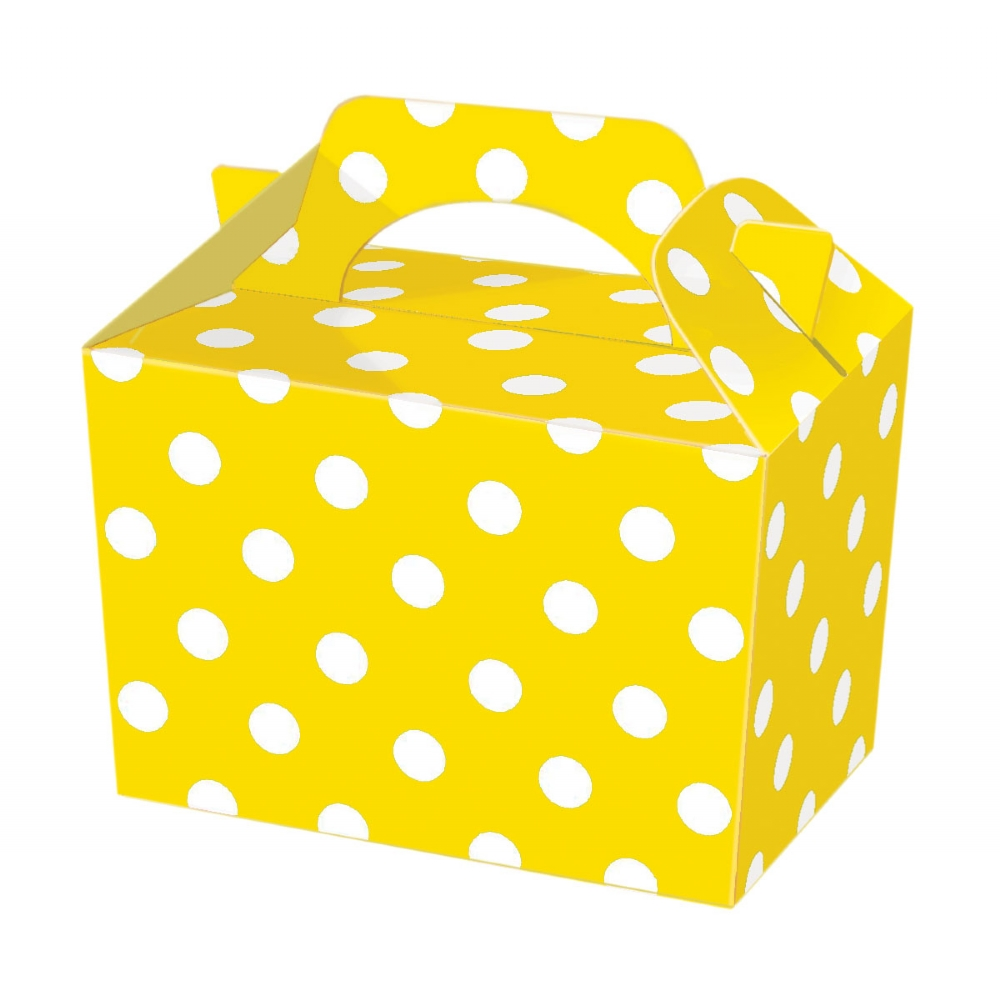 Yellow Polka Dot Food & Party Boxes - wholesale party supplies
